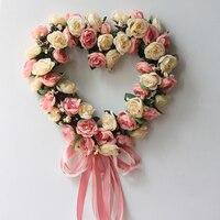 Artificial Wreaths Rose Floral Garland Flower Wreath Wedding Door Hanging Background Decoration