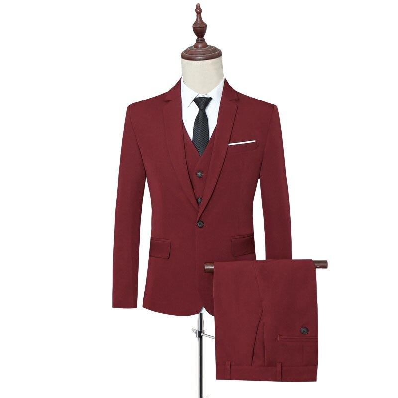 Klassische Formale Kleid Männer Anzug Jacken + Weste + Hosen Mode Freizeit Herren 3 Stück Anzug Größe S 6XL Hochzeit Anzüge für Mann Schwarz - 5