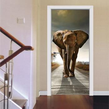 Animal 3D Elephant Poster PVC Waterproof Entire Door Sticker Creative Stickers Door Wall Sticker DIY Mural Bedroom Home Decor
