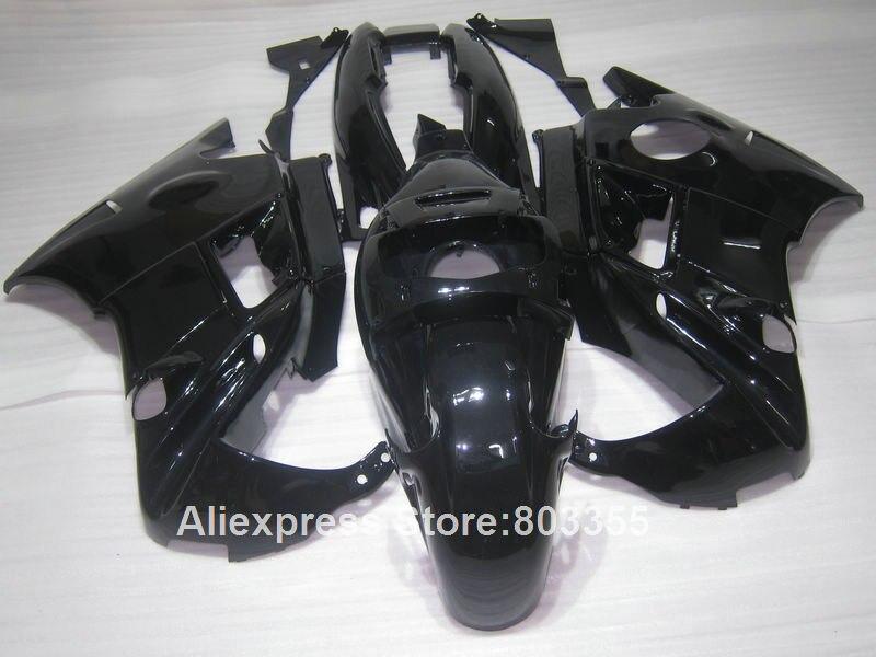 Todos kit Carenagem preta para HONDA CBR600 F2 1994 1993 1992 1991 cbr-600 (brilhante) carenagens 91 92 93 94 anos xl102