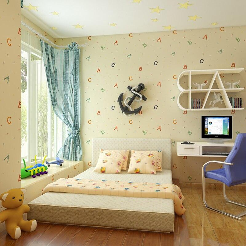 Dessin animé Alphabet enfants chambre décoration murale papier peint pour chambre murs bleu garçons et filles enfants chambre papier peint Non tissé