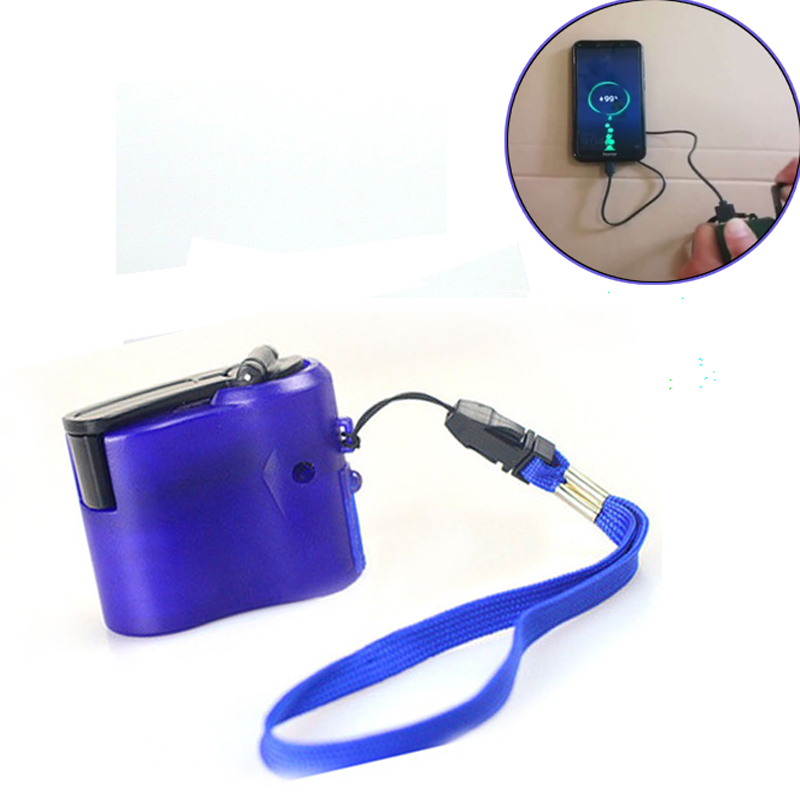 USB Phone Charger Charging Emergency Hand Crank Power Dynamo Portable For Camping Hiking Outdoor Mobile Phone SOS EDC Tools