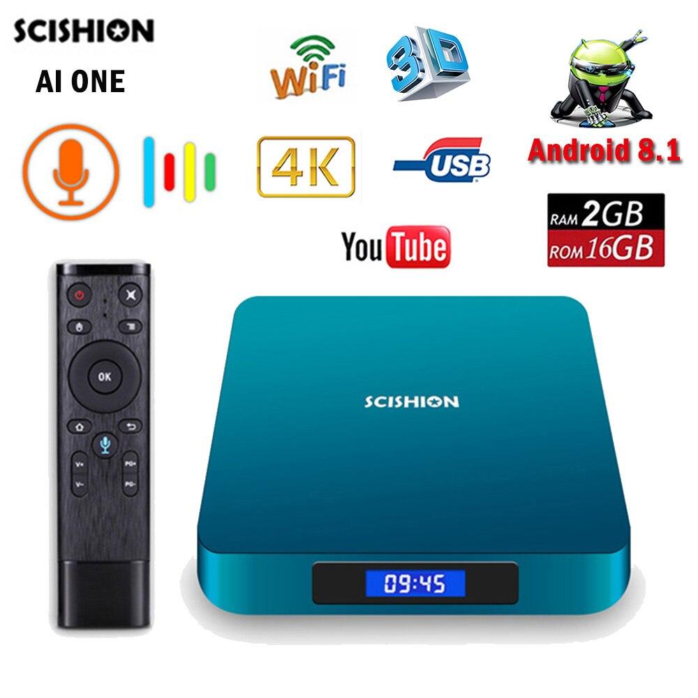 SCISHION AI ONE Android 8.1 TV Box RK3328 2G 16G WiFi BT4.0 USB 3.0 4 K Smart TV lecteur multimédia écran d'affichage commande vocale AIONE