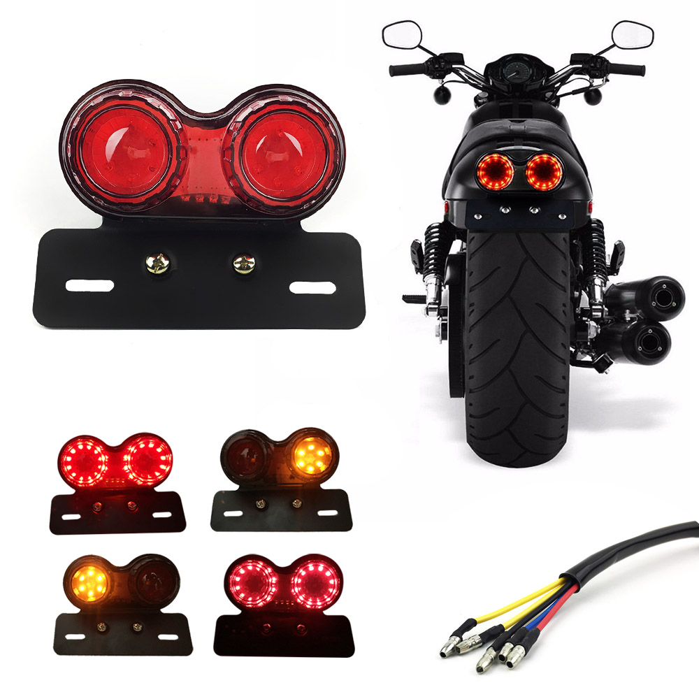 Other Lighting Parts Motorcycle Parts Universal Retro Motorcycle Turn Signal Rear Tail Brake Lamp License Plate Holder