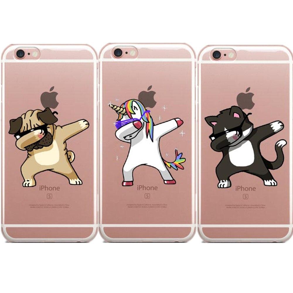 LOVINA étuis pour iPhone 7 7 Plus 5 s SE 6 6 s Plus Coque de téléphone Dabbing licorne Dab étuis durs Coque arrière pour iPhone 8 8 Plus
