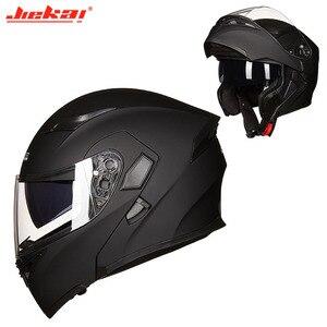 Image 5 - Kış DOT JIEKAI JK902 motosiklet kask çift Lens motosiklet MOTO Motocross kaskları siyah beyaz kırmızı M L XL XXL