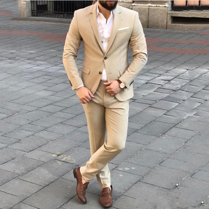 Custom Made Khaki Men Suits For Wedding Groom Tuxedos Groomsmen Man Blazer Jacket 2Piece Slim Fit Terno Masculino Prom Party