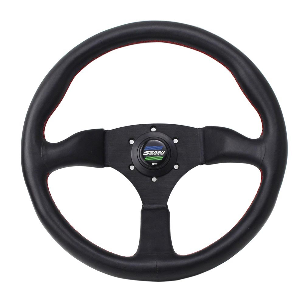 350mm 14inch Spoon Sport Modified Steering Wheel Universal Car Racing Performance Tuning Sports Leather Steering Wheel350mm 14inch Spoon Sport Modified Steering Wheel Universal Car Racing Performance Tuning Sports Leather Steering Wheel
