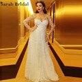 Sexy manga larga De encaje Myriam Fares vestido De la celebridad del Neckline escarpado largo vestido De noche árabe partido Rode robe De soirée Dubai