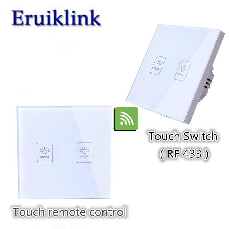 EU/UK Standard 1/2/3 gang 2 way Wall Switch,Glass Panel Lamp Switch For RF433 Smart home Wireless remote control light switch eu uk standard 1 2 3 gang 2 way remote control light switch glass panel lamp switch for rf smart home touch wall light switch