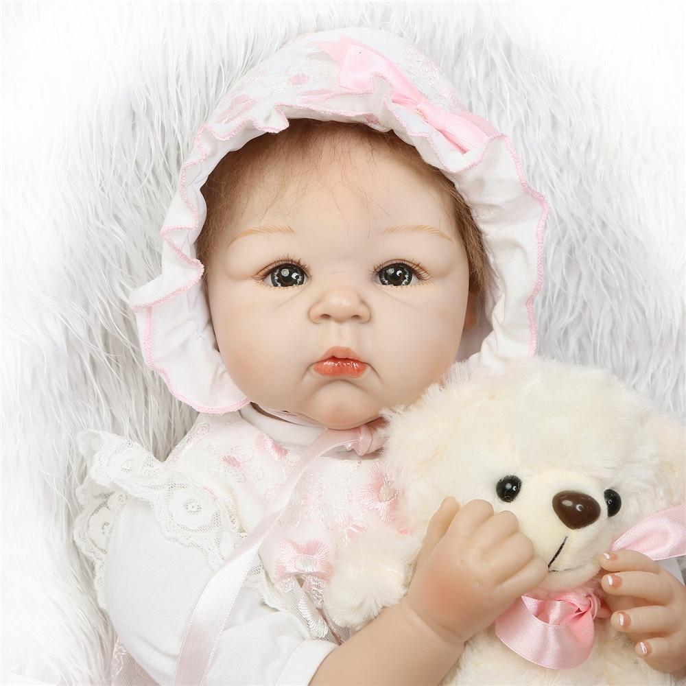 NPK dolls reborn silicone reborn baby girl 22 55cm soft cotton body new born babies for