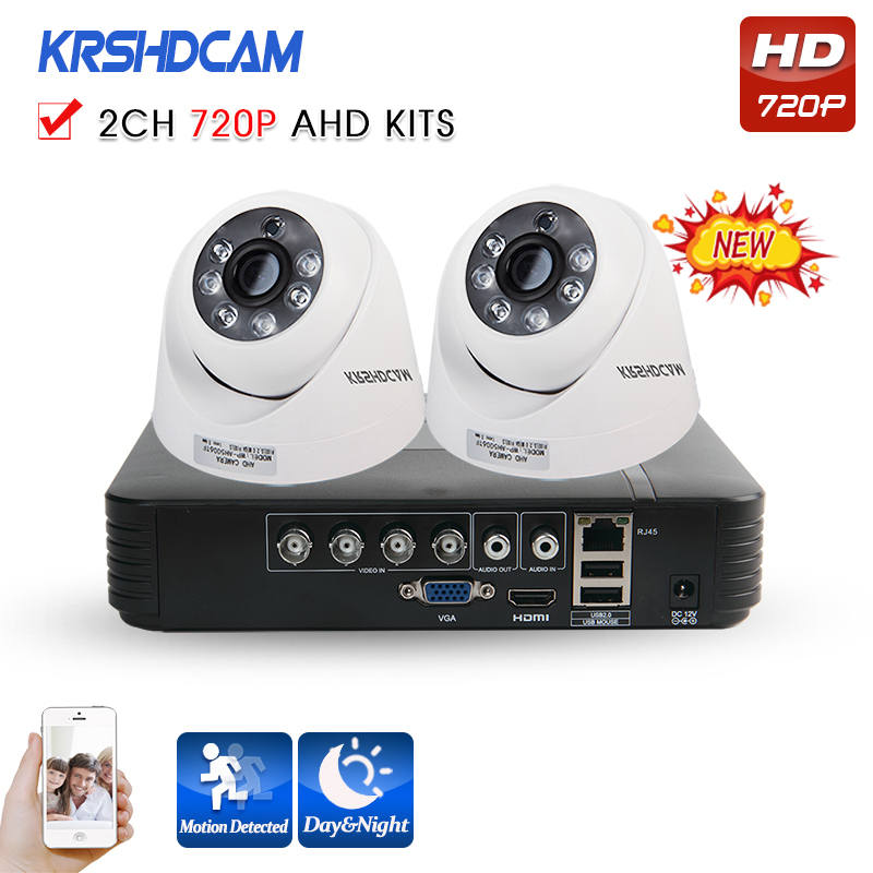 KRSHDCAM 4CH AHD DVR Security CCTV System 30M IR 2PCS 720P CCTV Camera indoor Waterproof Camera Home Video Surveillance Kit
