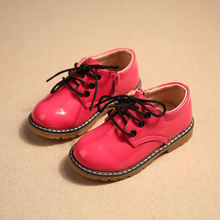 2016 spring new leather surface non - slip children s shoes bright boys and girls students casual
