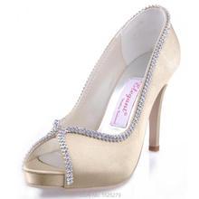 EP11083-IP Gold Abendfeier Kleid Pumpt Frauen Brautpartei Peep Toe-plattformen Strass Hochzeit Birde Brautjungfern Schuhe