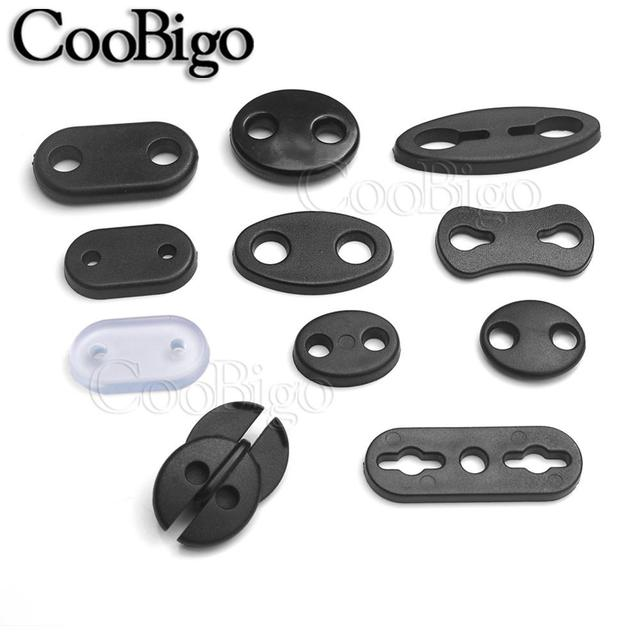 20pcs Plastic 2 Hole Flat Adjustable Stopper Cord Lock Ends Toggle For Paracord Sportswear Shoelace Garment Bag Parts