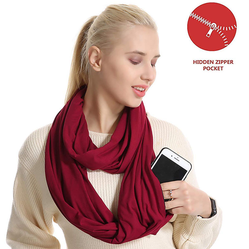 Woman Plain Color Travel   Scarf   New Premium Pocket Infinity   Scarf   Fashion Cotton   Scarves     Wrap   with Zipper Carabiner AA10129