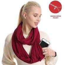 Woman Plain Color Travel Scarf New Premium Pocket Infinity Scarf