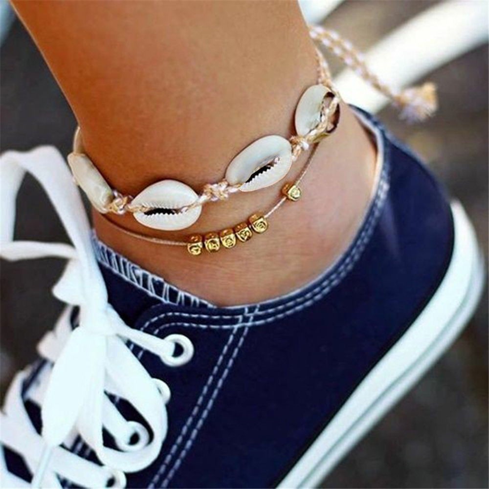 Boho Shell Starfish Pendant Anklets for Women Fashion New Stone Beads Shell Bracelets On Leg Ocean Beach Jewelry Drop Shipping