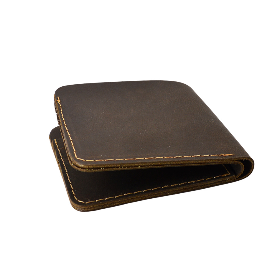 Short Handmade Men Genuine Leather Wallets Brown Vintage Bifold Mens Purse Wallet Designer Small Portomonee hong kong olg yat handmade carving wallet eagle mat men s brief paragraph vertical purse italian pure leather short wallets