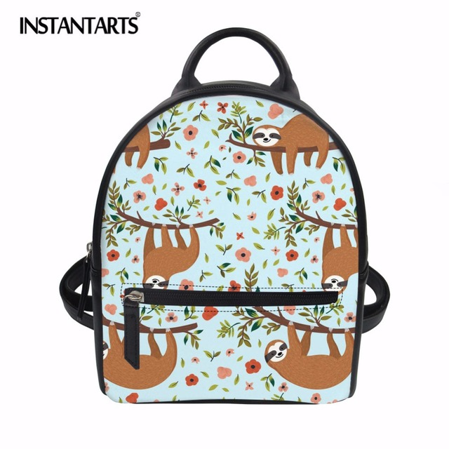 5e0d01a1d479 INSTANTARTS New Arrival Female Mini Backpack Flower Sloth Design School  Shoulder Bag Mochila Fashion PU Bookbag for College Girl