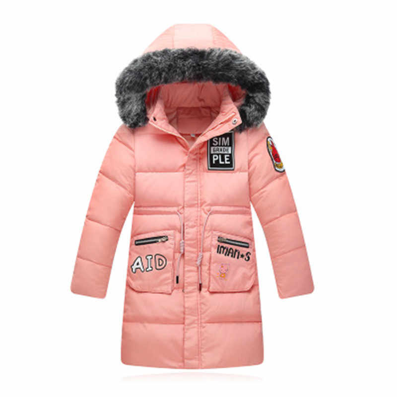 eaa0ff576 Girl Winter Coat Parka Long Down Puffer Girl Outerwear Down Jacket Duck  Down Children Thick Warm Clothes Teenage Girls Clothing