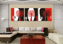 Unframed Abstract black and red white still life 3 panels canvas wall art tree oil paintings for living room pictures