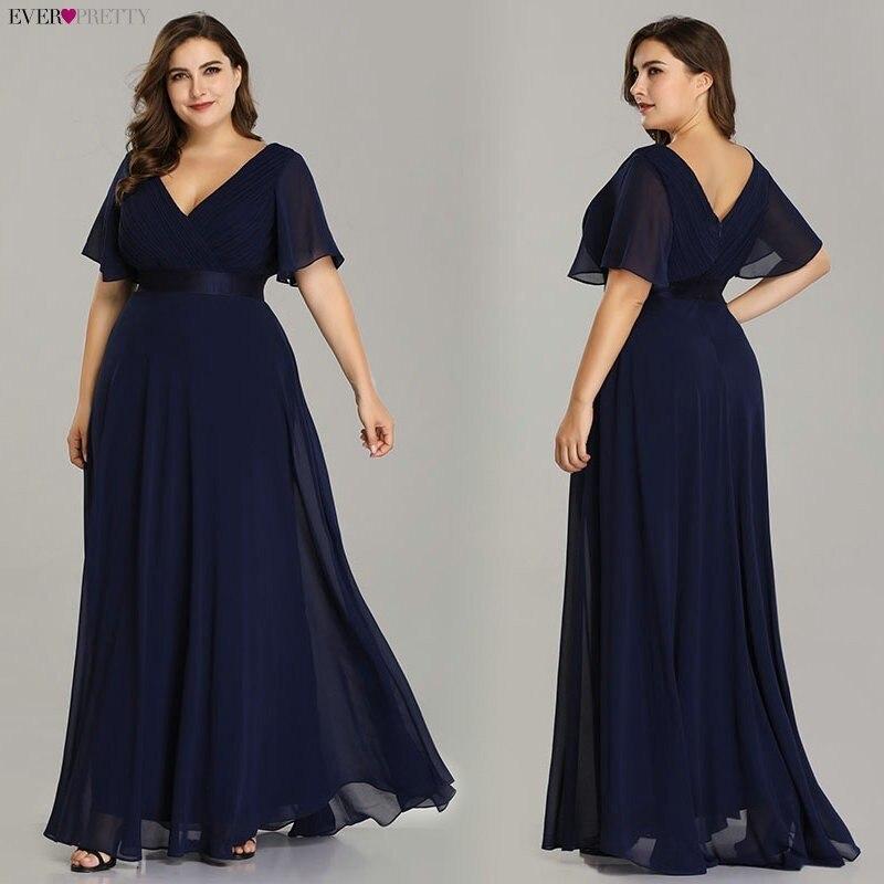 Grande taille robes de soirée jamais jolie col en v Nay bleu élégant a-ligne mousseline de soie longues robes de soirée 2019 manches courtes robes d'occasion - 3