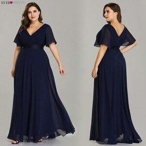 Image 4 - Grande taille robes de soirée jamais jolie col en v Nay bleu élégant a ligne mousseline de soie longue robes de soirée 2020 manches courtes robes doccasion