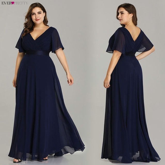 Plus Size Evening Dresses Ever Pretty V-neck Nay Blue Elegant A-line Chiffon Long Party Gowns 2020 Short Sleeve Occasion Dresses 3