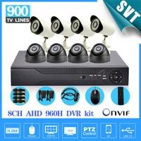HD AHD 960H 8Ch 900TVL CCTV Video Surveillance System Onvif NVR DVR Recorder Kit 8ch Home