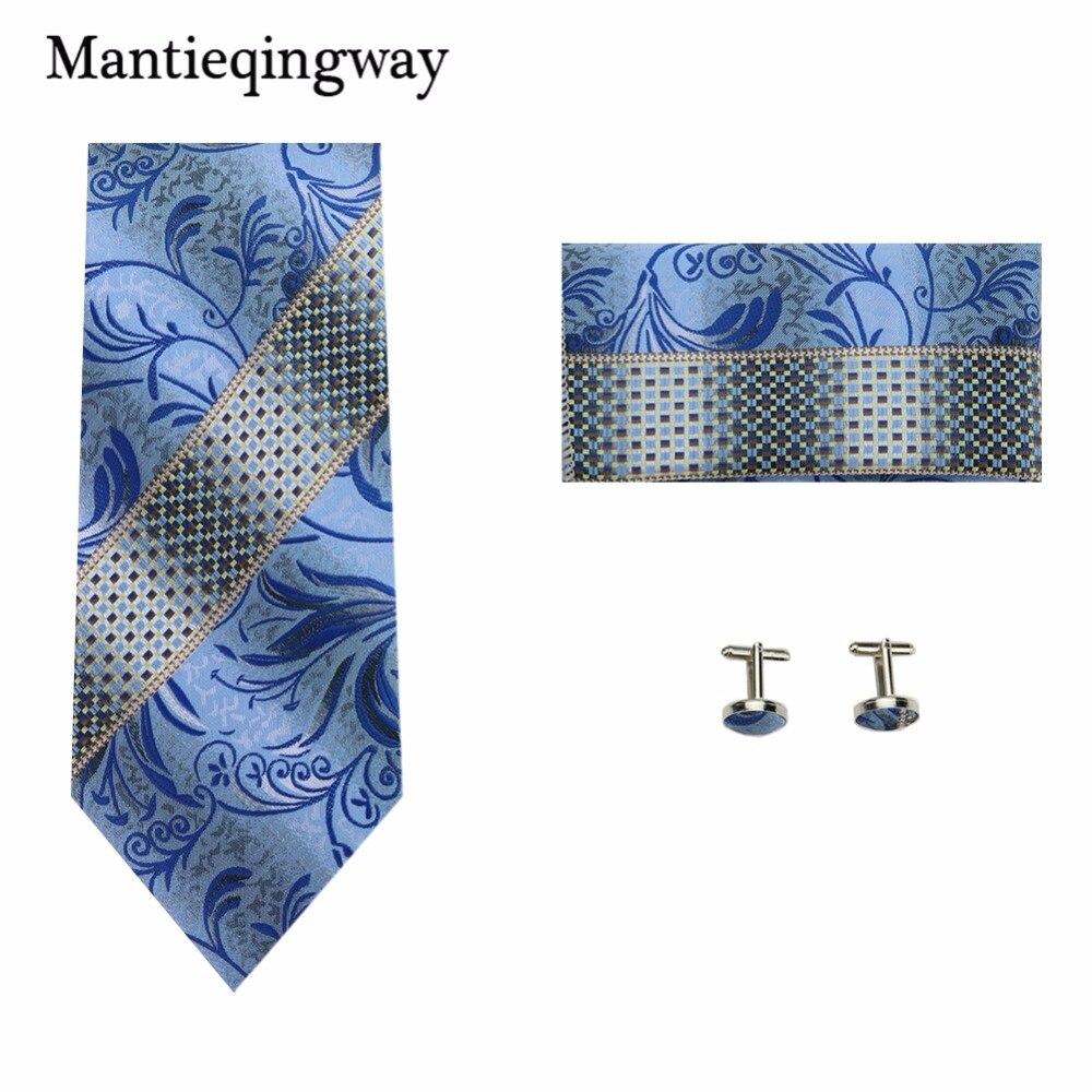 Mantieqingway Mens Ties Handkerchief Cufflinks Set For Wedding Paisley Floral Hanky Necktie For Mens Polyester 8.5cm Neck Tie