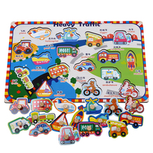 Baby Toys Montessori Wooden Puzzle/Hand Grab Board Set Educational Jigsaw Toy Cartoon Vehicle Animal Puzzle Child Gift baby toys montessori 2 in 1 puzzle hand grab board set educational wooden toy cartoon vehicle marine animal puzzle child gift