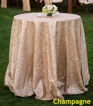 B·Y 50inch-125cm Round Sequin Tablecloth Champange Table Cover for Christmas Party Wedding decor-9525
