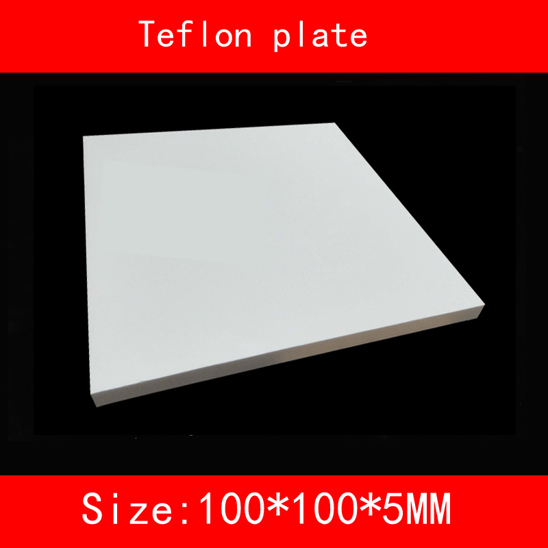 size 100*100*5mm Teflon plate resistance high-temperature working(degree Celsius between -200 to +260 ) PTFE sheet 1pcs ptfe round sheet teflon plate polytef plate size dia 5 08cm thickness 1 1cm