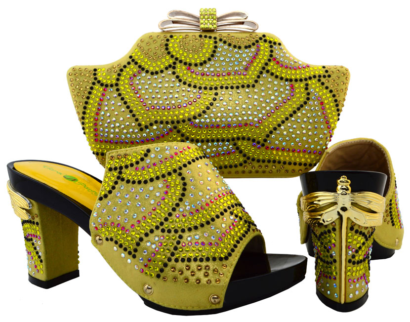 ФОТО Free Shipping Gold African Style Ladies Shoe With Matching Bag Set Italy Woman HIigh Heels Shoes And Bag Set For Wedding BCH-15