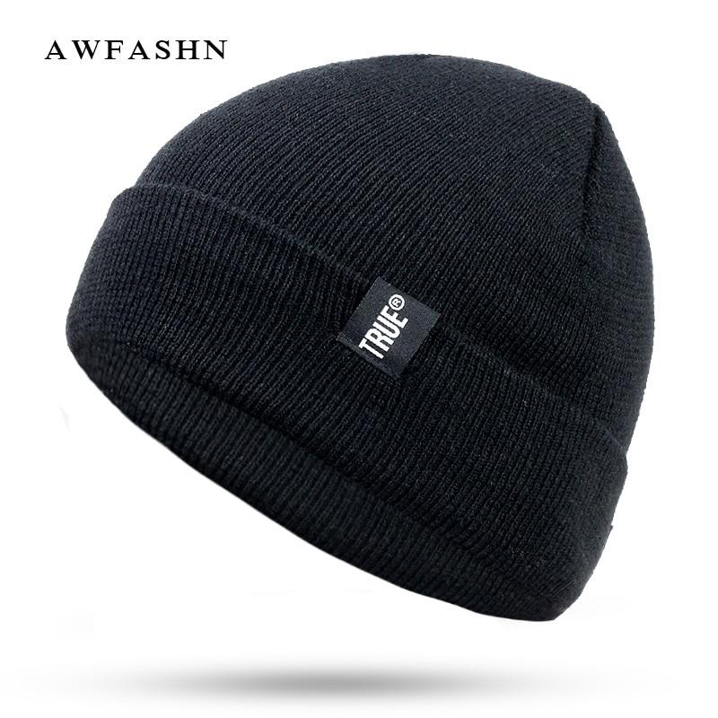 New Women's Winter Caps Wool Hats  Warm Skullies Knitted Beanies Man Black High Quality Cotton Cap Bone Thick Unisex Gorras TRUE