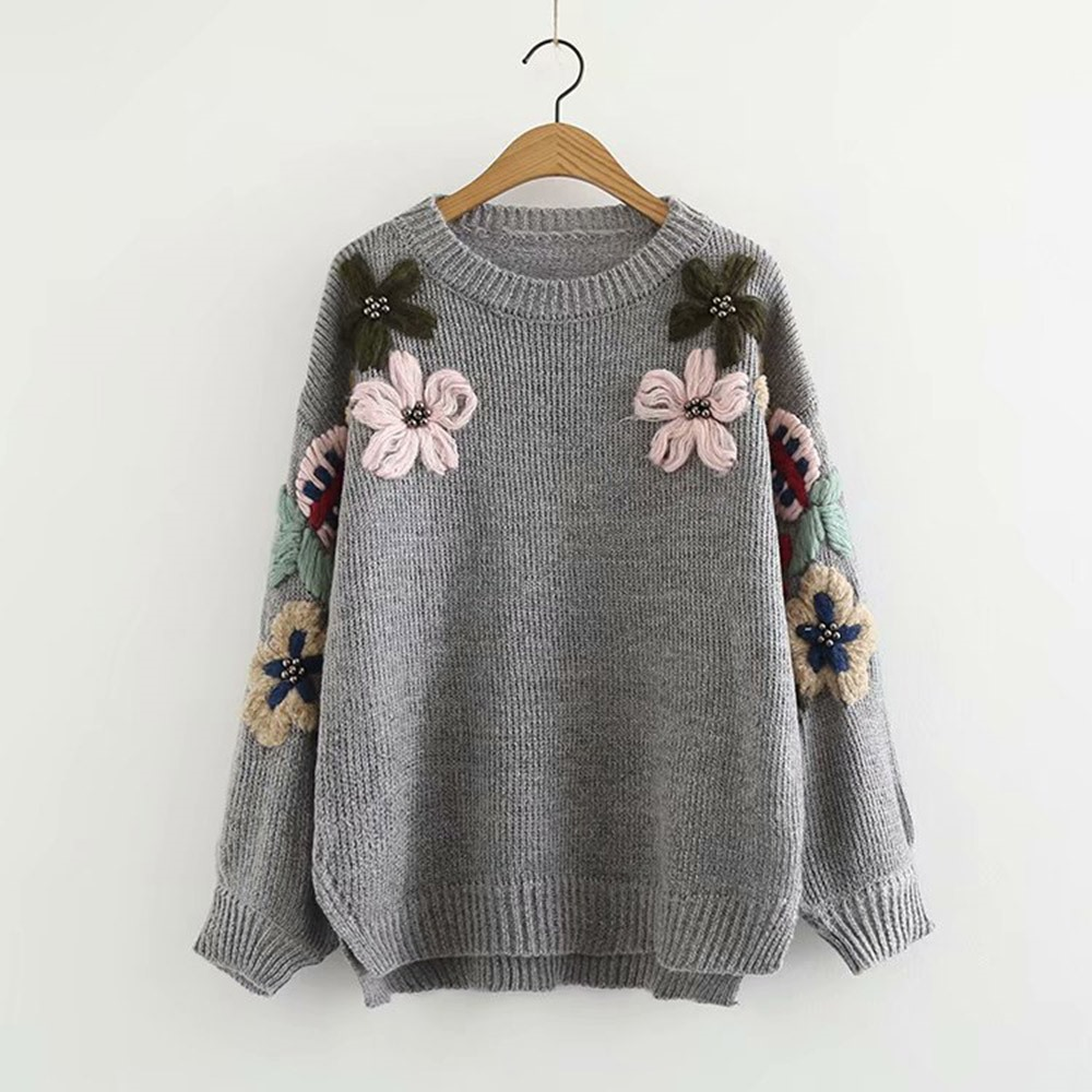 2018 Winter Boho Simple Casual Sweet Elegant Women Knitwear Loose Floral Appliques Pullover Female Fashion Green Sweaters