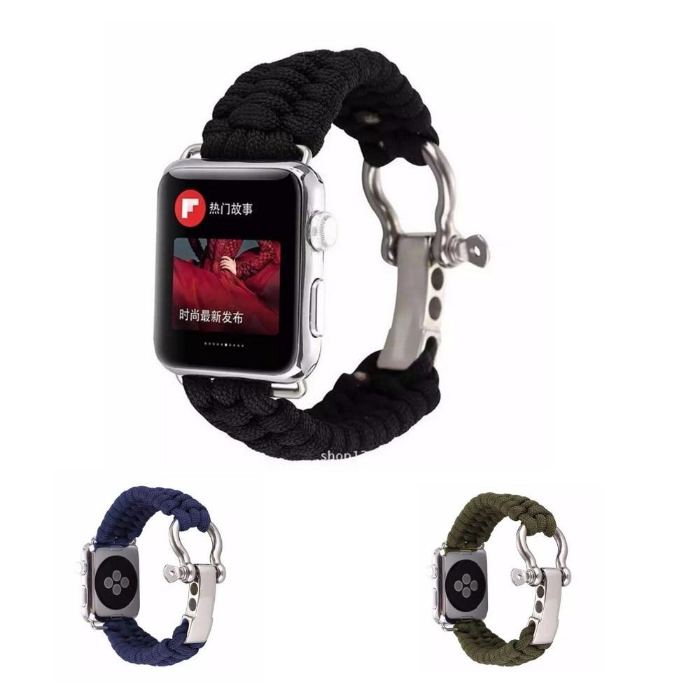 CRESTED Sports Strap For Apple Watch Band 42mm 38mm iWatch 3 2 1 Survival Rope Metal Bolt Clasp Wrist band Bracelet belt survival bracelet camouflage