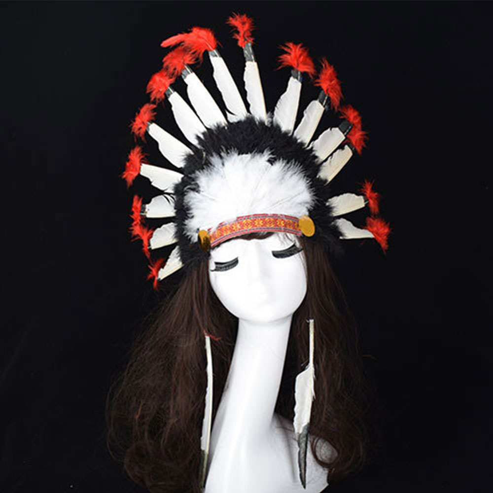 Hot Halloween Carnival Day Colorful Feather Party Hats Headband Indian Style   Headwear   Villus Chiefs Cap Party Cosplay Headdress