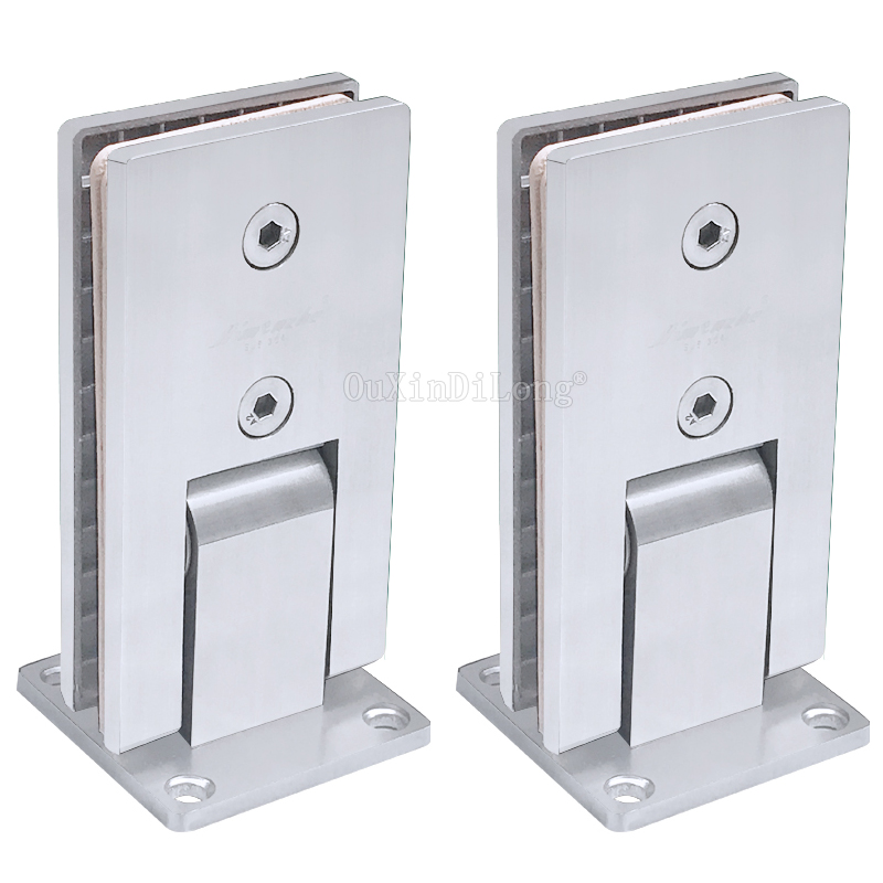 2PCS 90 Degree Rectangle Hinge Brushed 304 Stainless Steel Wall Mount Glass Shower Door Hinges for Bathroom Hardware JF1753 2pcs 90 degree bronze stainless steel hinges frameless wall to glass bathroom shower door hinge wall mount 8 10mm hinge jf1773