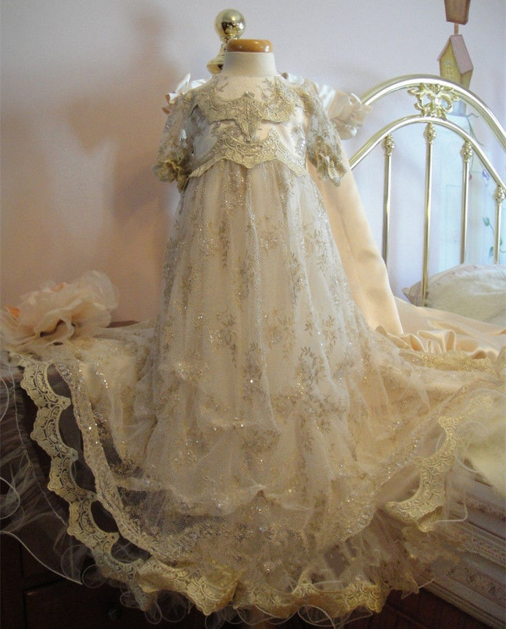 цена на High Quality 2017 Luxury Custom Baby Infant Girls Christening Dress White Ivory Baptism Gown Lace Applique O-Neck Short Sleeves