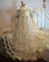 High Quality 2017 Luxury Custom Baby Infant Girls Christening Dress White Ivory Baptism Gown Lace Applique O Neck Short Sleeves