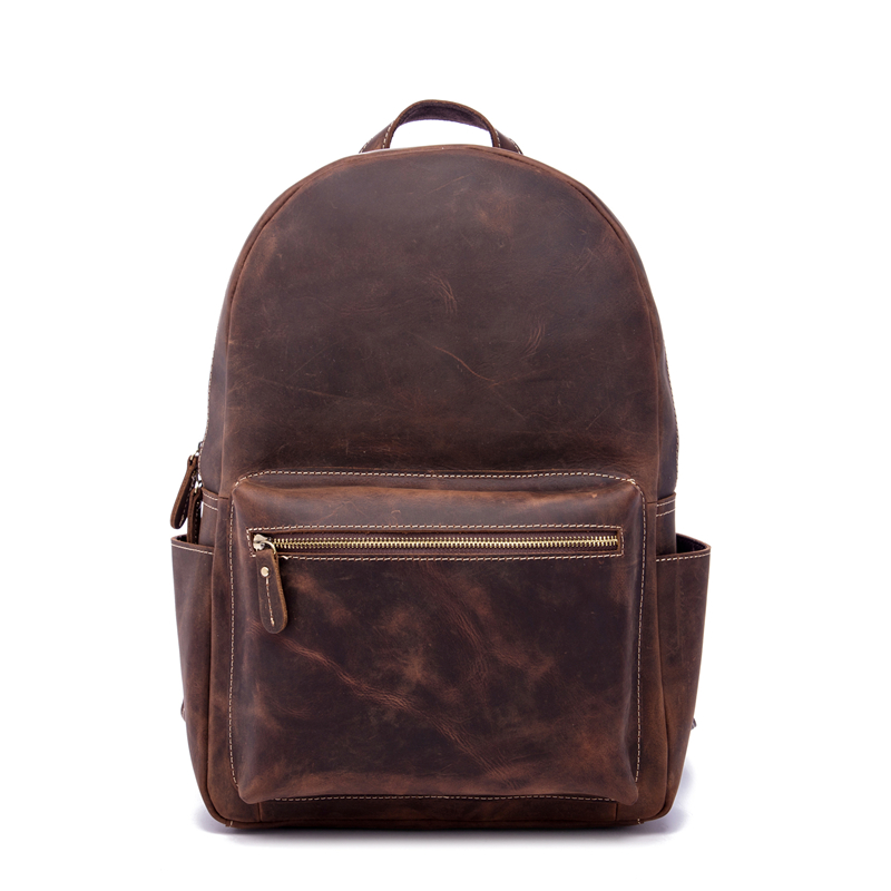 Men Backpack Genuine Leather Female Male Travel Business Crazy Horse Women School Student Big Capacity Bag