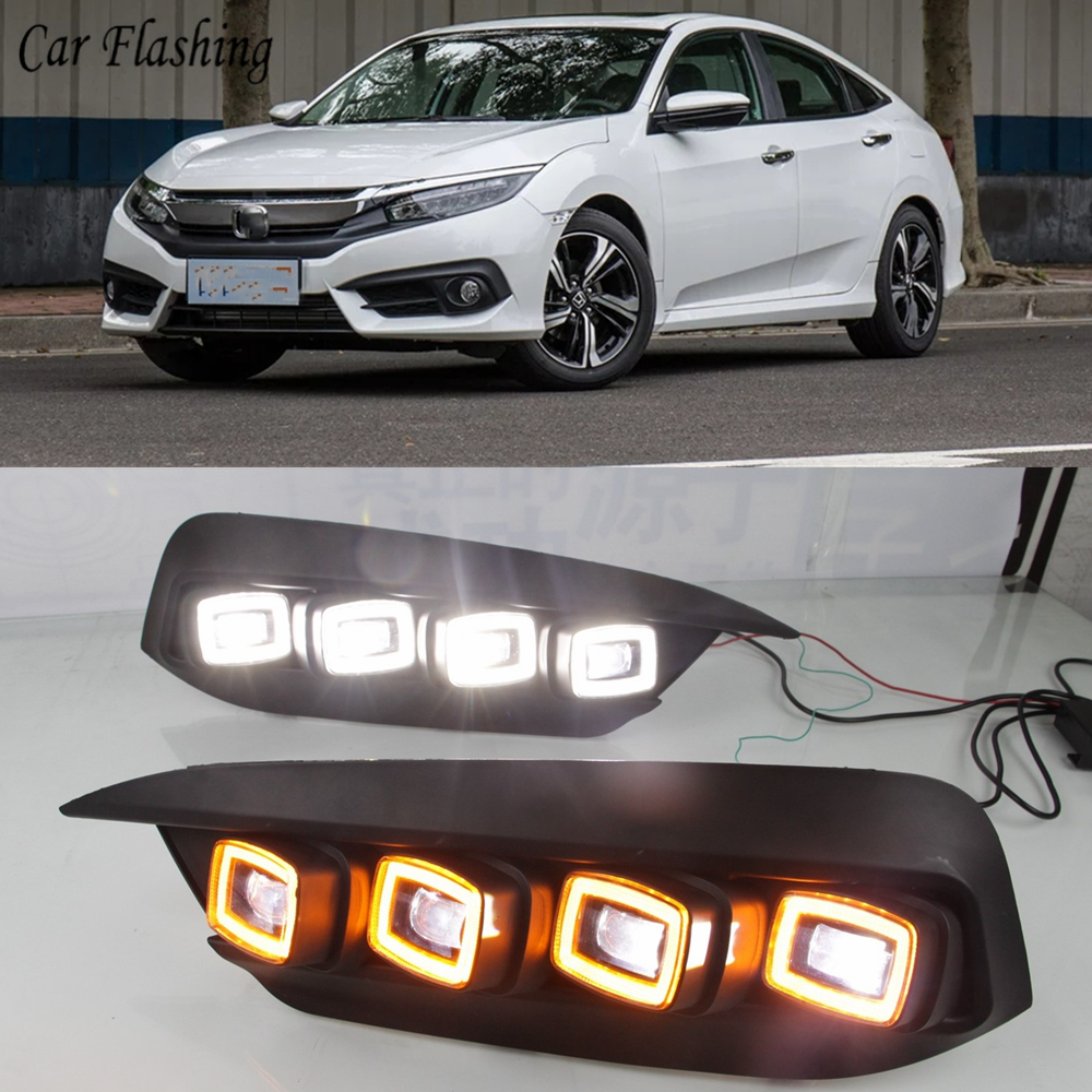 Car Flashing 2 pcs For Honda Civic 2017 2018 DRL LED Driving Daytime  Running lights Daylight With Turn yellow Signal auto-in Car Light Assembly  from ...