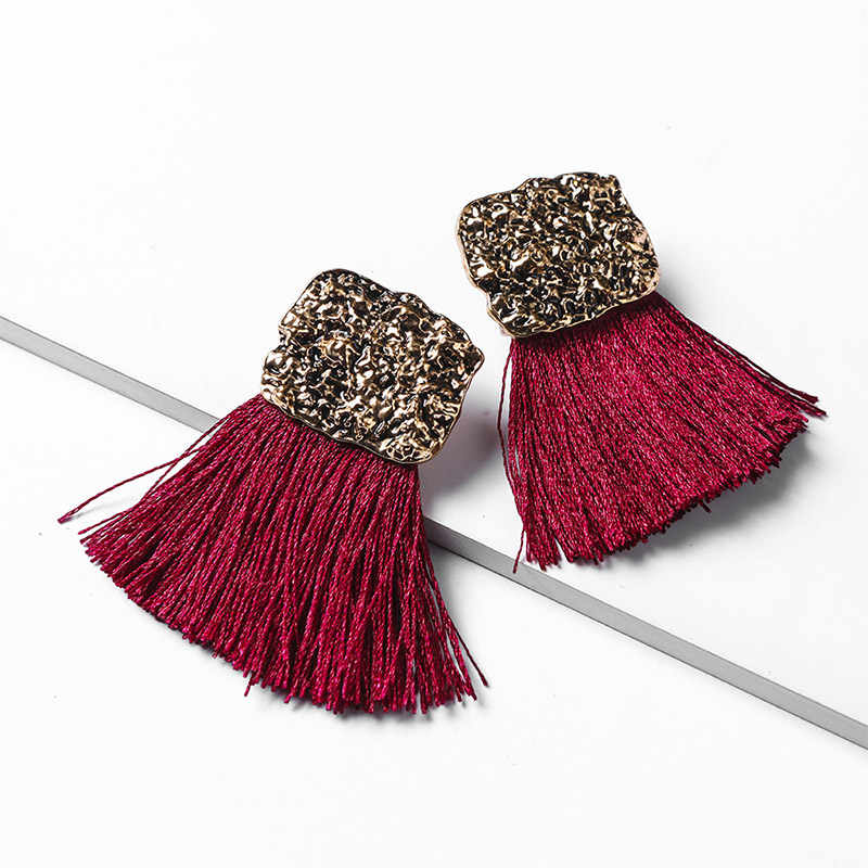JOUVAL חדש נשים בוהמי הצהרת עגילי שוליים ציצית כיכר זרוק עגיל נקבה להתנדנד Eardrop Brincos תכשיטים