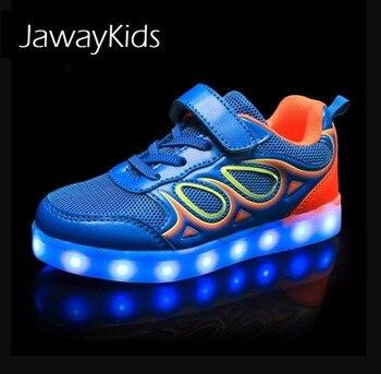 JawayKids USB charging glowing Kids LED Sneakers Children Fashion luminous shoes Boys Girls Folding Sport Running Light up shoes 2016 spring new arrival children led light shoes boys and girls breathable shoes kids usb charging flash colorful luminous shoes