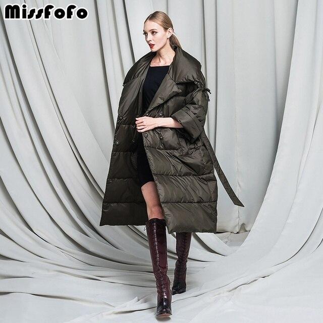 MissFoFo вниз 2016 Новая зимняя куртка розовый тонкая талия Большой нагрудные с длинным дизайн Для женщин пуховик женский S-2XL