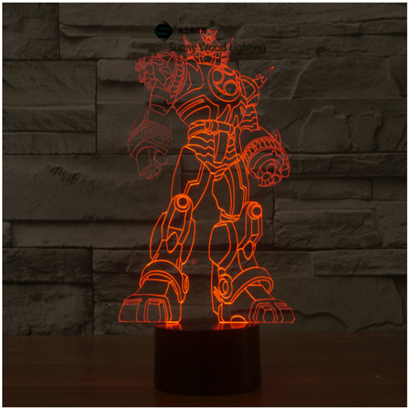 Transformers touch switch LED 3D lamp ,Visual Illusion 7color changing 5V USB for laptop, desk decoration toy lamp