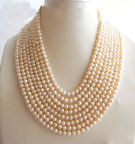 8Strands 18 6mm White Round Freshwater Pearl Necklace8Strands 18 6mm White Round Freshwater Pearl Necklace