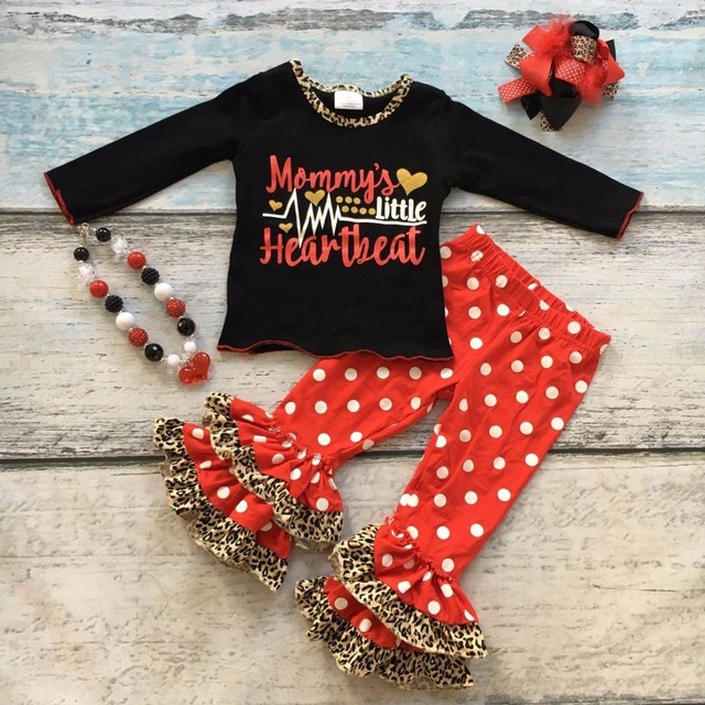 Cotton Valentines Day Boutique Baby Girls Outfits Clothing Ruffles Suit Mommys Heartbeat Love Leopard Top Match